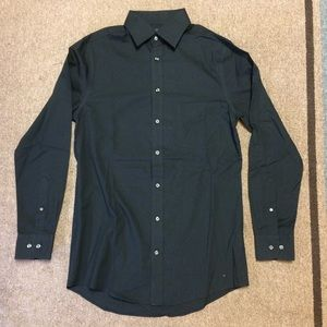 Stafford Fitted Black Dress Shirt Button 14 1/2